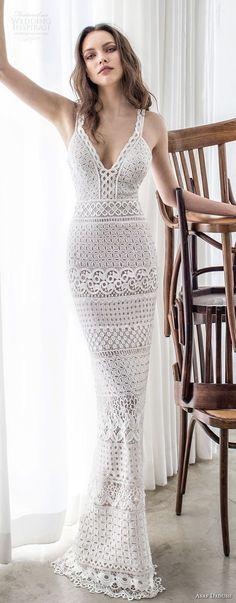 asaf dadush 2017 bridal sleeveless with strap deep sweetheart neckline full embellishment elegant sexy fit and flare sheath wedding dress sweep train (04) lv
