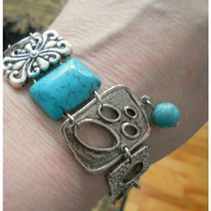 Bracelet, Bohemian turquoise bracelet, Abstract silver and blue turquoise chunky cuff bracelet, funky boho chic jewelry (€24) found on Polyvore