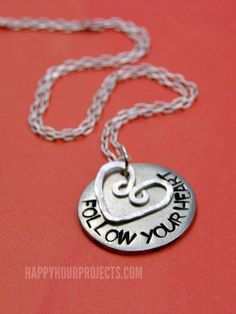 Follow Your Heart Hand Stamped Necklace | Stamping Round Blanks at www.happyhourprojects.com #jewelrynecklaces
