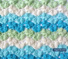 Simple textured popcorn stitch: Diagram + step by step instructions Free crochet patterns