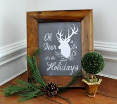 Oh Deer Holiday FREE Printables, Holiday printable chalkboard quote, chalkboard deer printable, printable holiday card, free phone wallpaper, plaid deer....