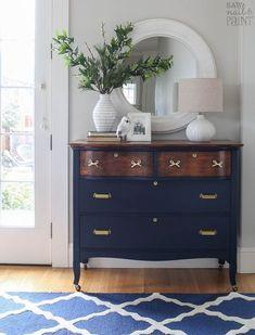 Dresser Makeover in Navy and Brass - Wohnen - Furniture Refurbished Furniture, Repurposed Furniture, Furniture Makeover, Vintage Furniture, Rustic Furniture, Modern Furniture, Outdoor Furniture, Dresser Makeovers, Dresser Ideas