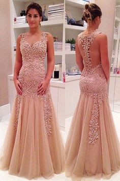 Sexy Prom Dress,Tulle Lace Evening Dress,Sleeveless Appliques Prom