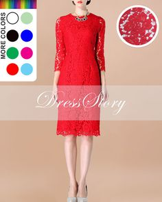 Red Lace Sheath Dress with Scalloped Hem  White Lace by DressStory, $129.99