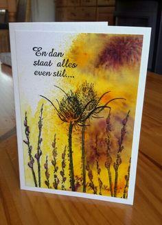 Een condoleance kaartje met een achtergrond gemaakt met Brusho. Stempels: Crafts & Things / Art Journey.