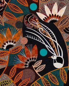 Helen Ansell Contemporary Decorative Art, Black Cat Tattoos, Naive Art, Aboriginal Art, Australian Artists, Textiles, Dot Painting, Whimsical Art, Surface Pattern Design