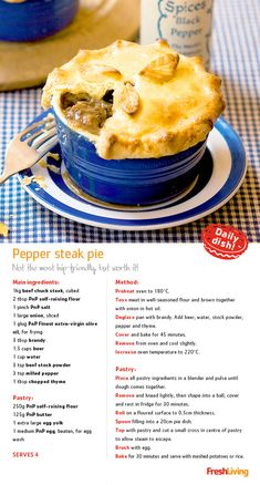 """""""Dreary day at the office? Liven up your lunch box with traditional pepper steak pie."""" #dailydish #picknpay #freshliving"""