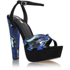 Carvela Gemma Leather Block Heel Platform Sandals, Dark Blue ($215) ❤ liked on Polyvore