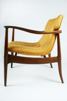 Bertha Schaefer; Walnut Armchair for Singer & Sons, 1960s.