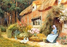 Woman Outside Cottage with Ducks by Arthur Claude Strachan - 1865 - 1929 - Pintor Escocês. Pintura Exterior, English Country Cottages, Cottage Art, Storybook Cottage, Figure Painting, Country Life, Contemporary Artists, Art History, Photo Art