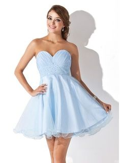 Empire Sweetheart Short/Mini Chiffon Tulle Homecoming Dress With Ruffle Beading Sequins (022008933)