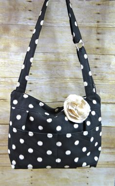 Diaper Bag / Perfectly Slouchy Black polka Dot Purse /  made in the USA, Darby Mack,  messenger / upholstery cotton - washable in stock