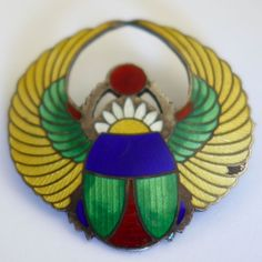 ANTIQUE ART NOUVEAU EGYPTIAN REVIVAL STERLING SILVER ENAMEL WINGED SCARAB BROOCH #SeeHallmark
