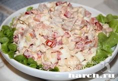 Салат с курицей и креветками Райский остров, salaty rybnye salaty myasnye salaty