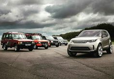@nickdimbleby has taken another classic image. Discovery Vision Concept (AKA: #allnewdiscovery) and its ancestors. The complete #Discovery saga! #landrover #discovery3 #discovery1 #discovery4 #discovery2 #lr3 #lr4 #nickdimbleby #landroverphotoalbum