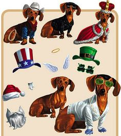 Dress a dachshund fridge magnets! My daughter would go crazy for these!
