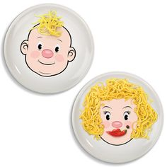 Mr. And Ms. Foodface Plates - Plates are crafted from food-safe, high-fire ceramics and inspire your kids to build edible accessories like hats, beards, earrings, and the like. Kids would love these plates.