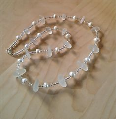 Sea Glass and Pearl Necklace by JimRoweDesigns on Etsy, $55.00