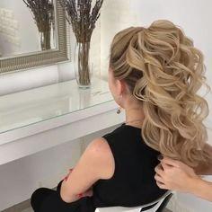 Hairstyle video tutorial hair tutorial in 2019 hair styles, Easy Hairstyles For Long Hair, Bride Hairstyles, 1980s Hairstyles, Curly Ponytail Hairstyles, Dinner Hairstyles, Wedding Guest Hairstyles Long, Ponytail Updo, Loose Hairstyles, Medium Hair Styles