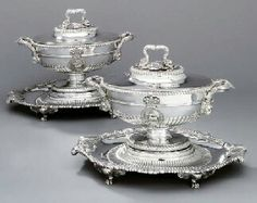 A pair of George III silver soup-tureens, covers, liners and stands Henry Thomas, Lion Mask, Silver Centerpiece, Georgian Architecture, Victorian Kitchen, National Portrait Gallery, Westminster Abbey, Acanthus, Silver Roses
