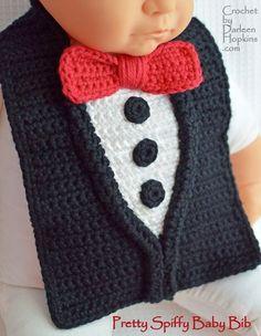 crochet baby bib pattern, tuxedo, by Darleen Hopkins #CbyDH #crochetbaby