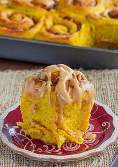 Pumpkin Sweet Rolls with Cranberries, Pecans and Caramel Cream Cheese Icing – I think that pretty much says it all! Perfect for breakfast.