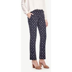 Ann Taylor Kate Tree Jacquard Everyday Ankle Pants ($98) ❤ liked on Polyvore featuring pants, capris, atlantic navy, ann taylor pants, slim fit pants, blue pants, navy blue ankle pants and blue ankle pants