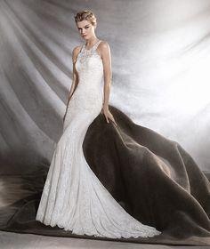OSINI - Vestido de novia de talle bajo con chantilly y guipur