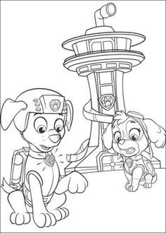 paw patrol skye and zuma behind a tower coloring pages printable and coloring book to print for free. Find more coloring pages online for kids and adults of paw patrol skye and zuma behind a tower coloring pages to print.