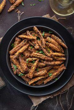 Best Kurkuri Bhindi Recipe (Fried Okra Recipe) - Cubes N Juliennes Vegetarian Barbecue, Barbecue Recipes, Vegetarian Cooking, Easy Cooking, Vegetarian Recipes, Italian Cooking, Okra Recipes, Snack Recipes, Cooking Recipes