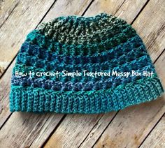 This messy bun hat video tutorial walks you through the steps to creating the Simple Textured Messy Bun Hat - a FREE crochet pattern by Amanda Saladin.
