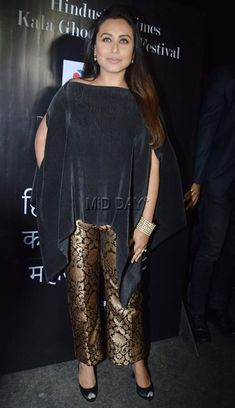 Rani Mukherjee Spotted at the Kala Ghoda Festival Casual Indian Fashion, Indian Fashion Dresses, Indian Designer Outfits, Indian Outfits, Designer Dresses, New Dress Design Indian, Fancy Dress Design, Stylish Dress Designs, Stylish Dresses
