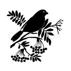 Bird silhouette on white background stock photo