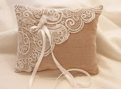 Beautiful ring pillow made of beige cotton and high quality white lace. At the… – Wedding/Hochzeit Ring Bearer Pillows, Ring Pillows, Ring Holder Wedding, Ring Pillow Wedding, Sewing Crafts, Sewing Projects, Cushion Cover Designs, Quirky Home Decor, Home Decor Styles