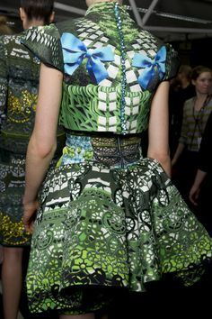 Mary Katrantzou sought inspiration from   the beauty found in everyday objects such as pencils and typewriters for Autumn Winter 2012. Structured silhouettes, fluid chiffon baby doll dresses and luxurious knitwear were spectacularly hand-embroidered with Swarovski Elements in collaboration with the French Haute Couture Embroidery House, Lesage