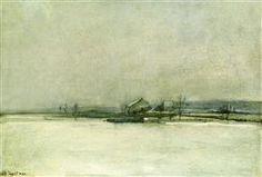 Зимний пейзаж с сараем, Джон Генри Твахтман