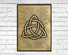 Triquetra old poster, Symbolic wall decor, Celtic print, dictionary print, ancient Holy Trinity book page art Book Page Art, Art Pages, Holy Symbol, Sacred Meaning, Paper Wall Decor, How To Age Paper, Norse Symbols, Triquetra, Celtic Art
