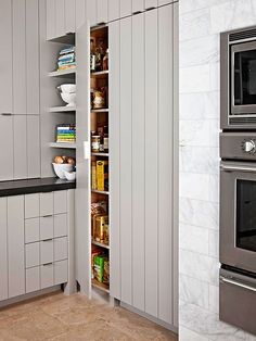 Built-in, butler's, walk-in, freestanding, or a combination -- storage is never in short supply when a well-designed kitchen pantry is just steps away. A pantry optimizes your kitchen layout by consolidating everything in one handy location. Keep food items organized and on-hand with the perfect kitchen pantry design ideas for your home.