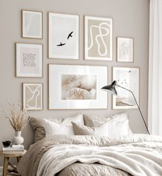 Gallery Wall Inspiration - Shop your Gallery Wall Gallery Wall Bedroom, Room Ideas Bedroom, Bedroom Inspo, Room Decor Bedroom, Beige Walls Bedroom, White Bedroom, Beige Bedrooms, Bedroom Frames, Budget Home Decorating