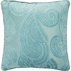 Pier 1 Imports Baroque Paisley Aqua Pillow ($24) ❤ liked on Polyvore featuring home, home decor, throw pillows, blue, aqua home decor, aqua toss pillows, aqua home accessories, blue home decor and baroque home decor