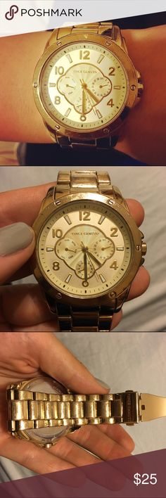 Big face Vince Camuto watch⌚️ Stainless steel back, water resistant gold watch from Vince Camuto. The face measures 1.7 inches across. I've got a lot of use out of this watch but still in decent condition. It needs a new battery but works fine otherwise! Price reflects condition ✨ Vince Camuto Accessories Watches