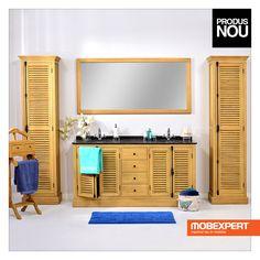 Mobilierul pentru baie Richmond este realizat din lemn masiv de stejar de culoare natur, ce conferă un aer relaxat încăperii. #mobexpert #mobilier #baie Double Vanity, Bathroom, Washroom, Bathrooms, Bath, Double Sink Vanity