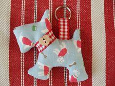 keyring, keychain,bag charm, scottie dog in Cath Kidston  fabric mini Stanley
