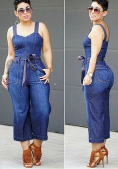 Denim Blue Sashes Shoulder Girdle Wide Leg Long Jumpsuit in 2019 Blue Jean Jumpsuit, Denim Jumpsuit, Jean Romper, Skirt Outfits, Chic Outfits, Fashion Outfits, Long Jumpsuits, Jumpsuits For Women, Denim Fashion