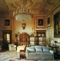 White Drawing Room at Windsor Castle ~ John Nash reserved one of his most original ceiling designs for the White Drawing Room