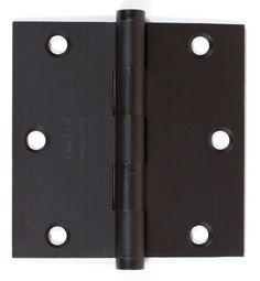 "Emtek 96113 3.5"" x 3.5"" Solid Brass Square Corner Plain Bearing Mortise Hinge -"