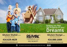 Helping you find, the property of your dreams - Ghulam Brothers Contact Us . Ghulam Shahid* & Ghulam Dastgir *Sales Representatives Mobile: 416-629-4829 OR 416 880 1884 gshahid@trebnet.com, dastgir@gmail.com #RealEstate #Realtor #Realty #Broker #ForSale #NewHome #HouseHunting #MillionDollarListing #HomeSale #HomesForSale #Property #Properties #Investment #Home #Housing #Listing #Mortgage Sales Representative, Dreaming Of You, Investing, New Homes, Real Estate, Dreams, Real Estates