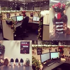 My cubicle decorated for Christmas.  Gonna have to do something like this next year.