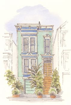 Victorian Town House, San Francisco by Leisure Painter - Carolyn Gill sent in her version of teh project saying am attaching a photo of my picture. Kids Watercolor, Watercolour, The Artist Magazine, Town House, Funny Art, Funny Kids, Flower Art, Magazines, Exercises