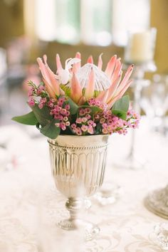 Protea wedding centerpiece in blush pink with purple pink Waxflower blossom. Wedding Flower Arrangements, Wedding Centerpieces, Wedding Table, Fall Wedding, Floral Arrangements, Wedding Decorations, Centrepieces, Small Centerpieces, Table Arrangements